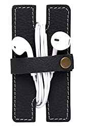 Aursapelle Earphone and Data Cable Organiser Made of 100% Genuine Leather