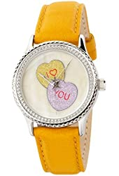 """The P.S. Collection by Arjang and Co. Women's PS-1008S-YL """"Candy Hearts"""" Mother Of Pearl Dial Yellow Leather Strap Watch"""