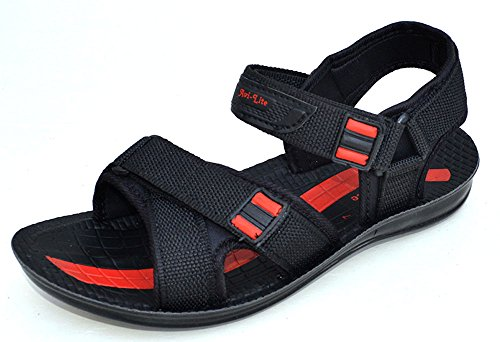 Red Avilite Men's Black & Red Synthetic Sandals (Multicolor)