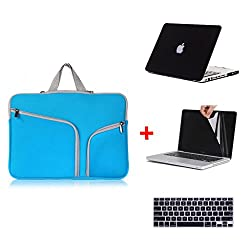 Laptop Sleeve 4-In-1 , Go Crazzy Zipper Briefcase Soft Handbag Sleeve With Matte Rubberized Hard Case With Free Lcd Clear Screen Protector Film Guard + Keyboard Protector Compatible For Macbook Pro 13.3 Inch Retina