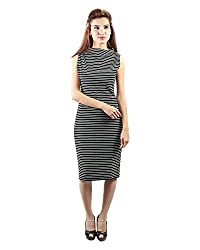 Envy Women's Blended Boat Neck Dress (Black, Free Size)