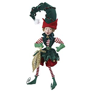 Pixiepyes Fabric Elf Pixie Ornament, 18-Inch, Green/Red