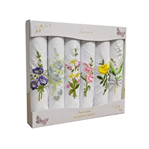 6 Ladies Coloured And White Boxed Embroidered Handkerchiefs 100% cotton