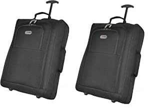 Set of 2 Super Lightweight Cabin Approved Luggage Travel Wheely Suitcase Wheeled Bags 1.50k - 33 Litres (Black 4020)