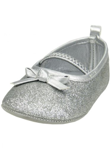 """Silver Glitter Mary Jane Baby Girl Shoes By Goldbug - Metallic - 1 Infant / 6 Wks-3 Mths / 3.87-4.25"""" front-1056667"""