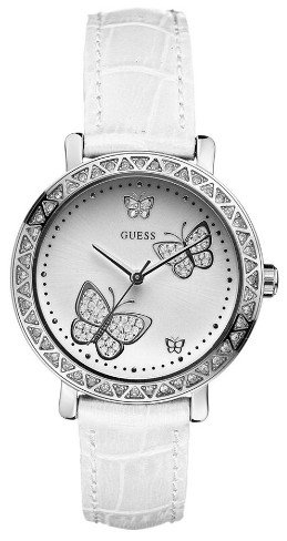GUESS White Leather Strap Watch
