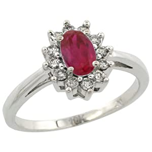 10K White Gold Natural Enhanced Ruby Diamond Flower Halo Ring Oval 6X4mm, 3/8 inch wide, size 5