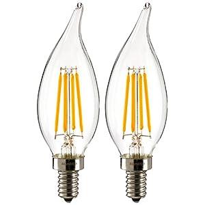 Sunlite LED Antique Torpedo Tip Style Chandelier 4 Watt 40W Incandescent replacement 120 Volt Candelabra Base Light Bulb 2700K Warm White 350 Lumen Dimmable