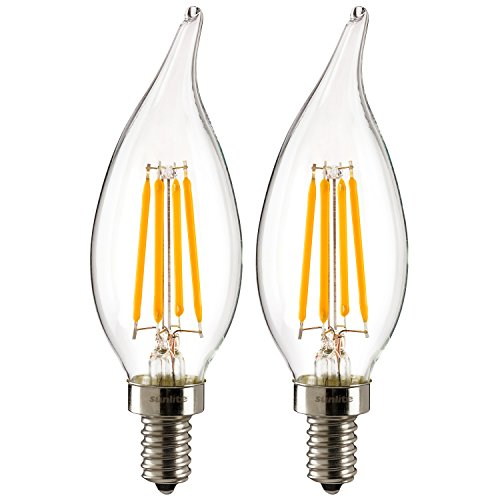 Sunlite CFC/LED/AQ/4W/E12/DIM/CL/27K 4W 120V LED Filament Antique Style Chandelier with Candelabra Base and 2700K 350 Lumen Dimmable Light Bulb , Warm White