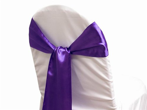 MDS Pack of 50 satin chair sashes bow sash for wedding and Events Supplies Party Decoration chair cover sash -cadbury purple