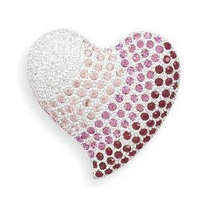 Red to Pink Heart Fashion Pin Brooch Accented with Swarovski Crystal