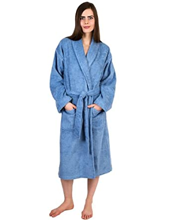 TowelSelections Turkish Cotton Bathrobe Terry Shawl Robe for Women and Men Made in Turkey X-Small/Small Blue