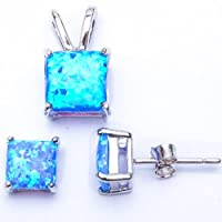 GREAT QUALITY Princess Cut Blue Lab FIRE Opal Pendant & Earring .925 Sterling Silver Set from Oxford Diamond Co