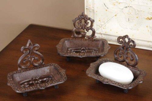 Tuscan Metal Iron Rustic Soap Dish Vintage Set 3 front-43210