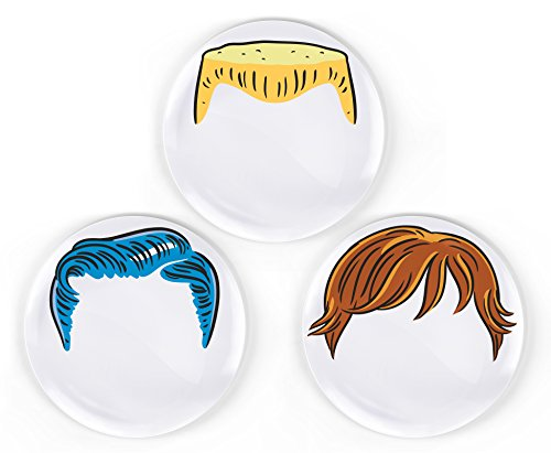 Dinner Do's Kids Dinnerware Plates Food Faces-Set of 3-Boy's Style