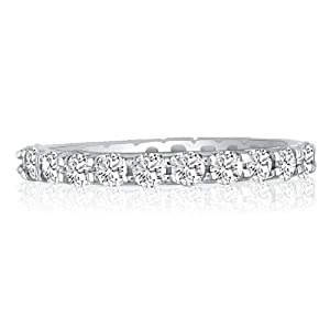 5ct Channel Set Round Diamond Eternity Anniversary Band Ring, 18K White Gold, Ring Sizes 4 to 9 1/2, Ring Size 6 (GHSI3)