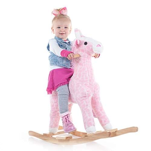 Happy Trails Plush Rocking Penny The Pink Giraffe Ride On - 1