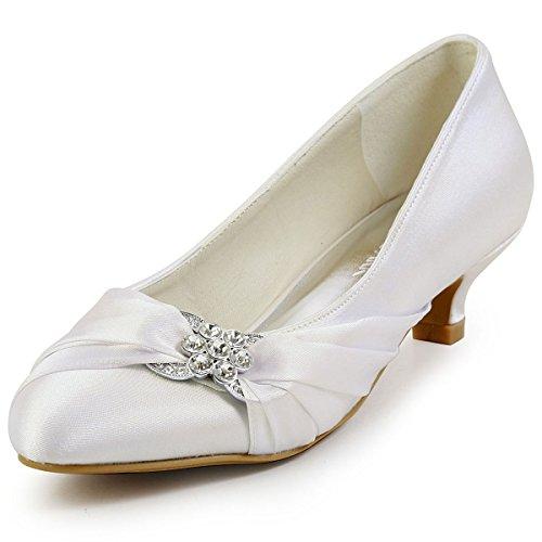ElegantPark EP2006L Women Closed Toe Comfort Heel Rhinestone Satin Wedding Bridal Shoes Ivory US 9 (Bridal Shoes Ivory compare prices)