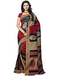 Rangreza Women's Cotton Silk Saree (PGZSAREE012_Black_Free Size)