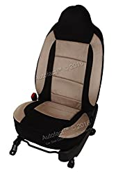Autofact Brand Suede / Buff Velvet Car Seat Covers for Maruti Car 800 Old Model in Black and Dotted Beige Combination