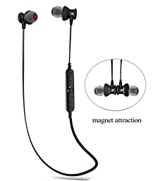 Bluetooth Headset, Sweatproof V4.0 Wireless Bluetooth Earphones In-Ear Headphones Earbuds with Microphone & Stereo for Sports Earpiece with Magnet Attraction (Black)
