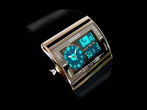 Available in 4 colors OHSEN multi-function digital and analog display waterproof stopwatch sports outdoor casual mens ladies watch [BOX clock wipe with (black)