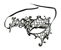 Kayso Inc Signature Phantom of the Opera Venetian Laser Cut Masquerade Mask, Reverse Black w/ Clear Stones