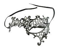Kayso Inc Signature Phantom of the Opera Venetian Laser Cut Masquerade Mask, Reverse Black w/ Clear Stones