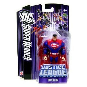 Picture of Mattel DC Super Heroes Justice League Unlimited Action Figure Superman with Red Steel Bar [Purple Card] (B000RN69QY) (Superman Action Figures)