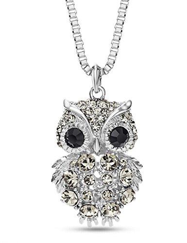 [LNKRE JEWELRY Swarovski Elements Crystal Owl Animal Pendant Necklace,31