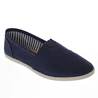 Soda Women Object Round Toe Flats Shoes,5 B(M) US,Navy Linen