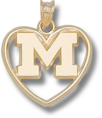 Michigan Wolverines M Polished Heart Pendant - 14KT Gold Jewelry by Logo Art