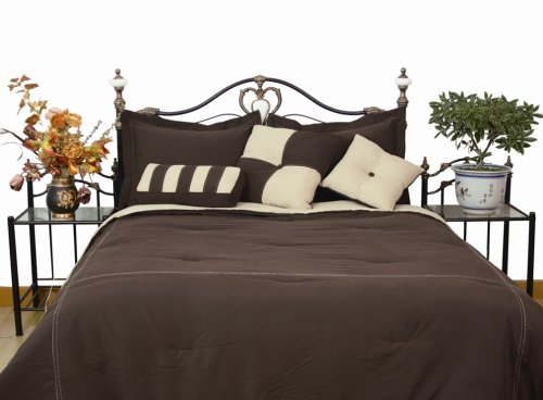 Microfiber Queen Comforter Set, Chocolate / Khaki