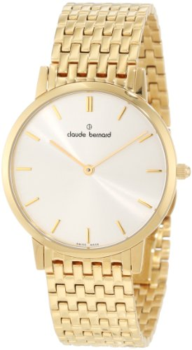 Claude Bernard Men's 20061 37M AID Classic Gents - Slim Line Gold PVD Silver Dial Stainless Steel Watch