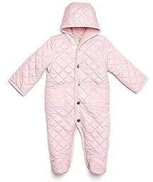 Leveret Quilted Baby Snowsuit (3 Months, Lt Pink)