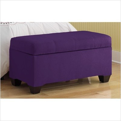 Upholstered Storage Micro-Suede Bench in Purple