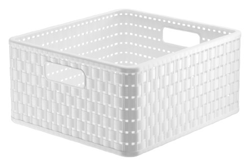 1116801100 Aufbewahrungskiste Dekobox Country in Rattan-Optik aus Kunststoff (PP), quadratisch, Inhalt ca. 14 l, ca. 32.8 x 30 x 16 cm (LxBxH), weiss