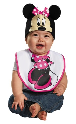 Disguise Baby Girl's Disney Mickey Mouse Pink Minnie Infant Bib and Hat Costume