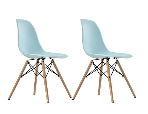DHP Mid Century Modern Molded Chair with Wood Leg, Set of 2, Blue (Vintage Chair For Desk compare prices)