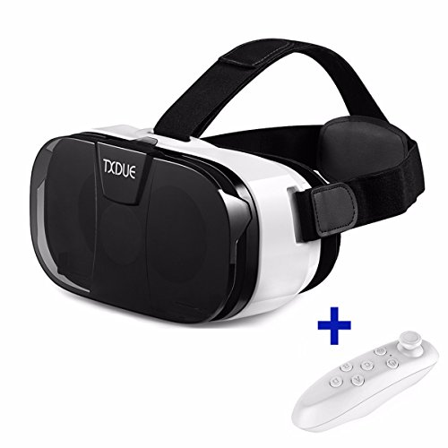 3D VR Headset, TXDUE Virtual Reality Goggles with Bluetooth Remote Controller, Upgraded and Much Lighter Version VR Glasses