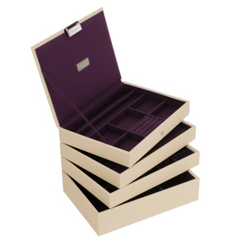Stackers Set Of 4 'Classic Size' Cream Stacker Set Of 4 Jewelry Box With Purple Lining.