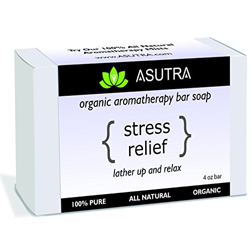 """Organic Aromatherapy Bar Soap - """"STRESS RELIEF"""" - Lather Up & Relax - 100% Pure, Vegan, Natural, Lavender Essential Oil + FREE Storage & Travel Case (1pk /4 oz)"""