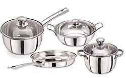 Pristine Tri Ply Induction Base Cooking Essential St. Steel Cookware Set, 4PCS, Silver