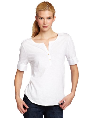 Calvin Klein Womens Henley Shirt With Epaulettes, White, Small