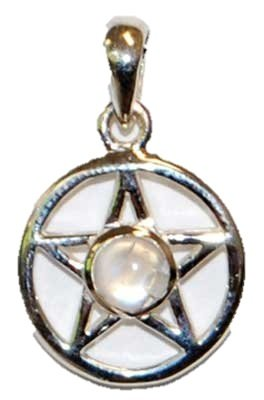 Sterling Silver Small Moonstone Pentagram Pentacle