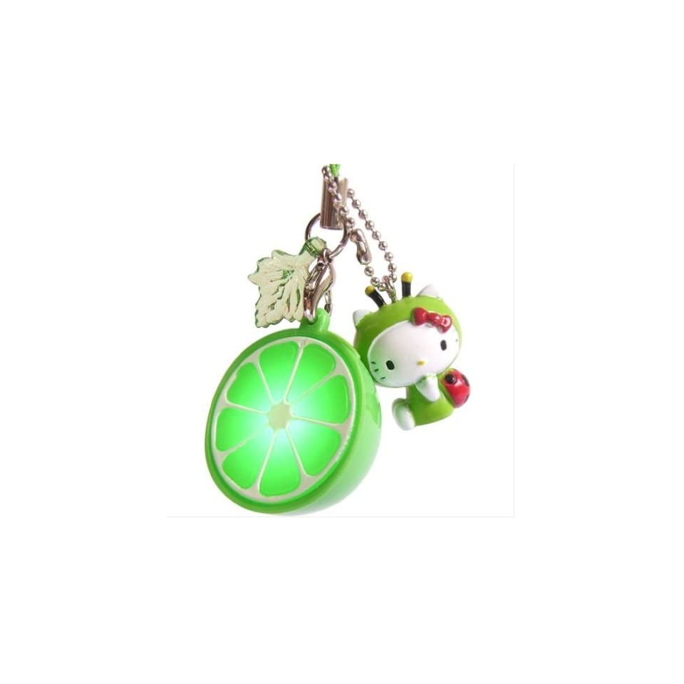 Hello Kitty (HK in Green Ladybug) Ipod Cell mobile Phone Lime charm flash Mascot Strap (Lights and Flashes)