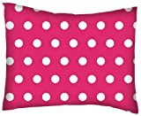SheetWorld Crib / Toddler Percale Baby Pillow Case - Polka Dots Hot Pink - Made In USA