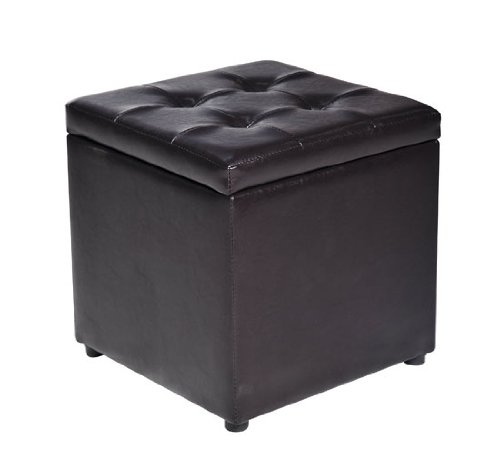 HomCom Faux Leather Storage Ottoman - Black