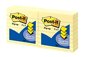 Post-it Pop-up Notes, 3 x 3-Inches, Canary Yellow, Lined, 6-Pads/Pack