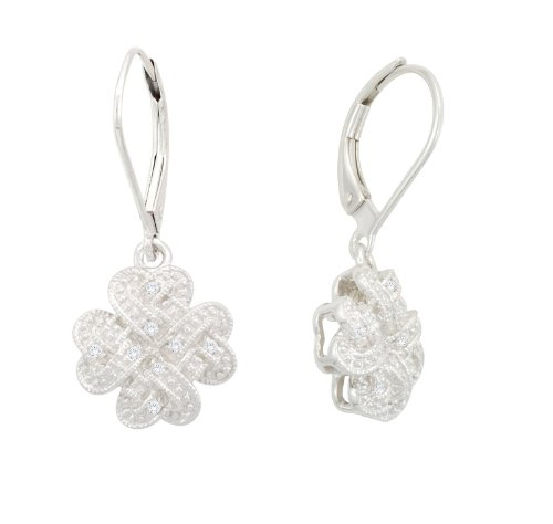 Silver Braided Diamond Earrings